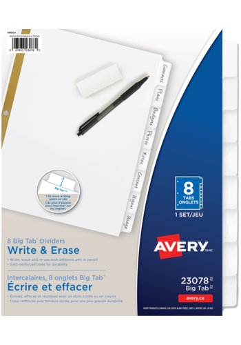 Avery® 23078 - Big Tab™ Write-On Dividers,  8-1/2in. x 11in., White