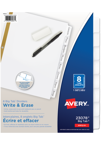 Avery<sup>&reg;</sup> Big Tab<sup>&trade;</sup> Write &amp; Erase Dividers - Avery<sup>&reg;</sup> Big Tab<sup>&trade;</sup> Write &amp; Erase  Dividers