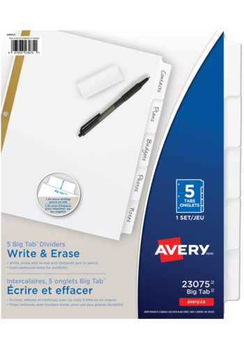 Avery<sup>&reg;</sup> Big Tab&trade; Write &amp Erase Dividers - Avery<sup>&reg;</sup>Big Tab&trade; Write &amp Erase Dividers