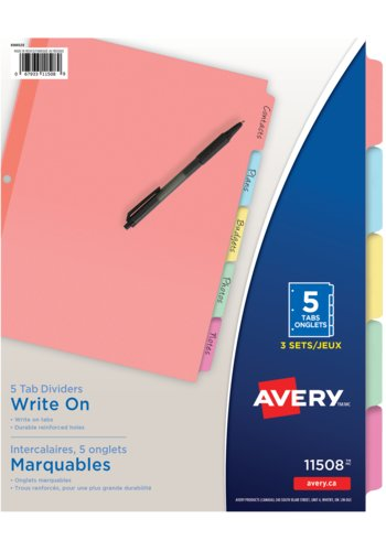 Avery® 11508 - Write On Dividers,  8-1/2in. x 11in., Multi-colour