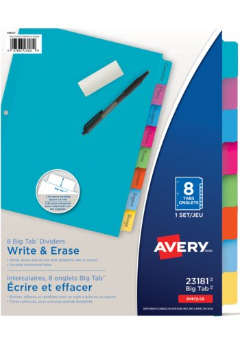 Avery® 23078 - Intercalaires Marquables à gros onglets Big Tab,  8-1/2in. x 11in., Blanc