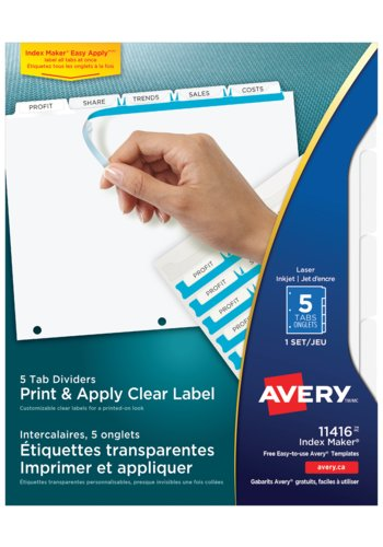 Avery® 11416 - Print &#38; Apply Clear Label Dividers with Index Maker<sup>&reg;</sup> ,  8-1/2in. x 11in., White