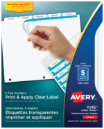 Avery<sup>&reg;</sup> Print &#38; Apply Clear Label Dividers with Index Maker&reg; Easy Apply&trade; Labels 11416