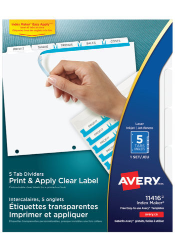 Avery<sup>®</sup> Print & Apply Clear Label Dividers with Index Maker® Easy Apply™ Labels - Avery<sup>®</sup> Print & Apply Clear Label Dividers