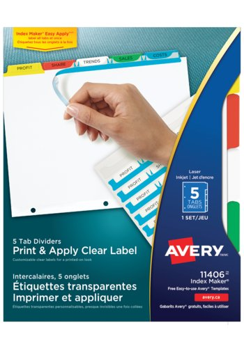 Avery Clear Label Dividers, 11406 Index Maker, 8-1/2in. x 11in., Multi-colour