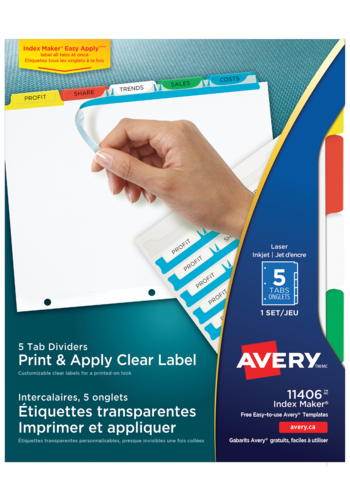 Avery<sup>&reg;</sup> Print &#38; Apply Clear Label Dividers with Index Maker&reg; Easy Apply&trade; Labels - Avery<sup>&reg;</sup> Print &#38; Apply Clear Label Dividers
