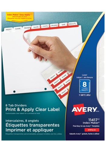 Avery<sup>&reg;</sup> Print &#38; Apply Clear Label Dividers with Index Maker<sup>&reg;</sup> Easy Apply&trade; Labels - Avery<sup>&reg;</sup> Print &#38; Apply Clear Label Dividers