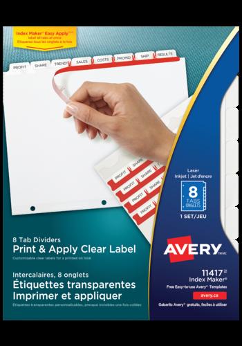Avery<sup>®</sup>  Intercalaires avec étiquettes transparentes à imprimer et à appliquer avec Index Maker<sup>®</sup> Easy Apply<sup>MC</sup> pour imprimantes à laser ou jet d'encre - Avery<sup>®</sup> Intercalaires avec étiquettes transparentes à imprimer et à appliquer