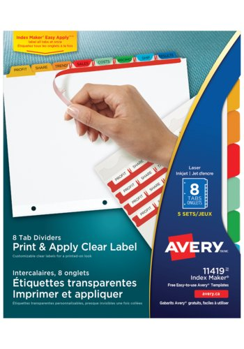 Avery Clear Label Dividers, 11419 Index Maker,  8-1/2in. x 11in., Multi-colour