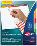 Avery<sup>&reg;</sup> Print &#38; Apply Clear Label Dividers with Index Maker Easy Apply&trade; Labels 11419
