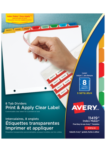 Avery<sup>&reg;</sup> Print &#38; Apply Clear Label Dividers with Index Maker Easy Apply&trade; Labels - Avery<sup>&reg;</sup> Print &#38; Apply Clear Label Dividers