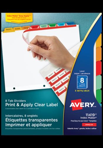 Avery<sup>®</sup>  Intercalaires avec étiquettes transparentes à imprimer et à appliquer avec Index Maker<sup>® </sup> Easy Apply<sup>MC</sup> pour imprimantes à laser ou jet d'encre - Avery<sup>®</sup> Intercalaires avec étiquettes transparentes à imprimer et à appliquer