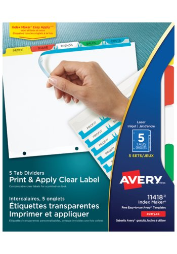 Avery® 11418 - Index Maker Intercalaires ,  8-1/2in. x 11in., Multi-couleur