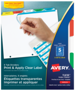 Avery<sup>&reg;</sup> Print &#38; Apply Clear Label Dividers with Index Maker Easy Apply&trade; Labels 11418