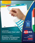 Avery<sup>®</sup>  Intercalaires avec étiquettes transparentes à imprimer et à appliquer avec Index Maker<sup>®</sup> Easy Apply<sup>MC</sup> pour imprimantes à laser ou jet d'encre 11418