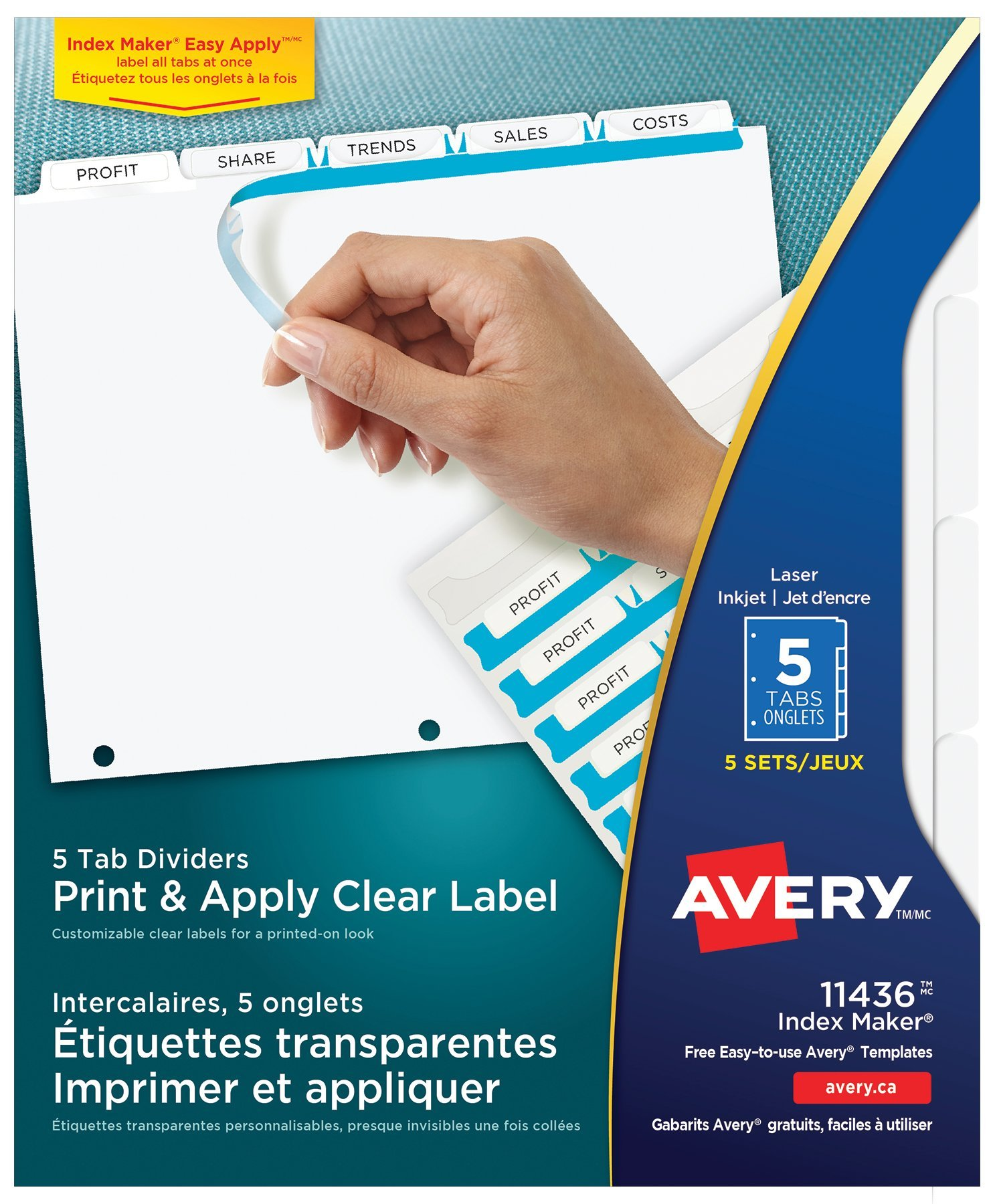 Avery 11436 Print Apply Clear Label Dividers With Index Maker