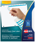 Avery<sup>&reg;</sup> Print &#38; Apply Clear Label Dividers with Index Maker Easy Apply&trade; Labels 11436