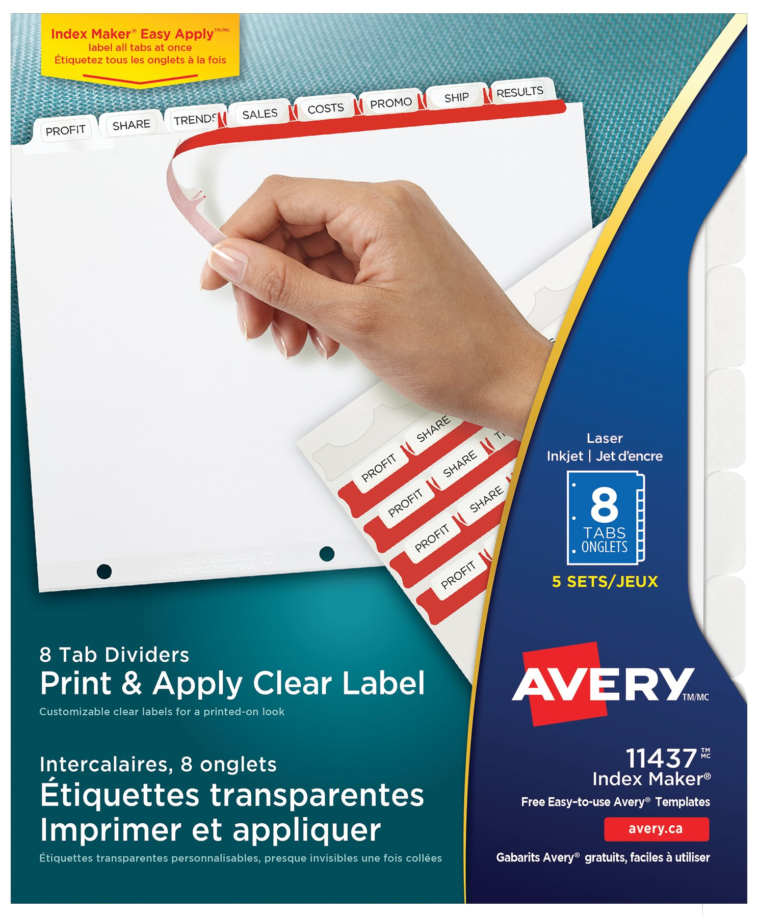 Avery 11437 Print Apply Clear Label Dividers With Index Maker