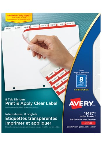 Avery® 11437 - Print & Apply Clear Label Dividers with Index Maker ,  8-1/2in. x 11in., White