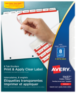 Avery<sup>&reg;</sup> Print &#38; Apply Clear Label Dividers with Index Maker<sup>&reg;</sup> and Easy Apply&trade; Labels 11437