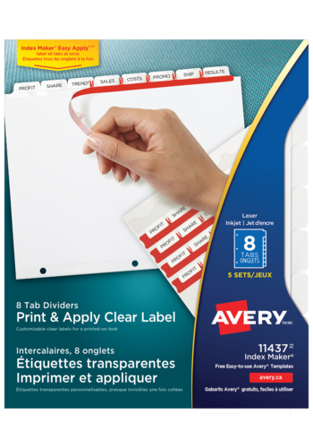 Avery<sup>&reg;</sup> Print &#38; Apply Clear Label Dividers with Index Maker<sup>&reg;</sup> and Easy Apply&trade; Labels - Avery<sup>&reg;</sup> Print &#38; Apply Clear Label Dividers with Index Maker<sup>&reg;</sup>