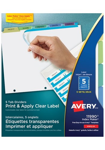 Avery® 11990 - Index Maker® Clear Label Dividers ,  8-1/2in. x 11in., Pastel
