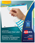 Avery<sup>&reg;</sup> Print &amp; Apply Clear Label Dividers with Index Maker<sup>&reg;</sup> Easy Apply&trade; Labels 11990