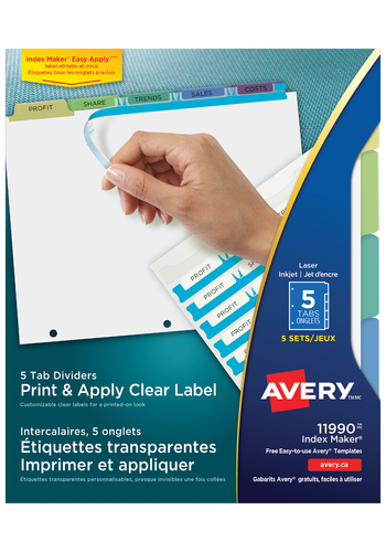 Avery<sup>&reg;</sup> Print &amp; Apply Clear Label Dividers with Index Maker<sup>&reg;</sup> Easy Apply&trade; Labels - Avery<sup>&reg;</sup> Print &amp; Apply Clear Label Dividers
