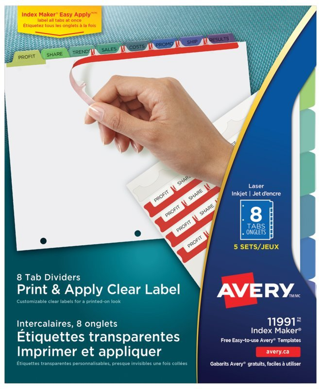 avery® 11991 - print & apply clear label dividers with index maker, Presentation templates