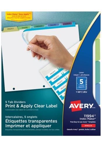 Avery® 11994 -  Intercalaires avec étiquettes transparentes à imprimer et à appliquer Index Maker Easy Apply ,  8-1/2in. x 11in., Pastel
