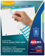 Avery<sup>&reg;</sup> Print &amp; Apply Clear Label Dividers with Index Maker<sup>&reg;</sup> Easy Apply<sup>&trade;</sup> 11994