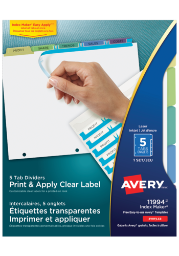 Avery<sup>&reg;</sup> Print &amp; Apply Clear Label Dividers with Index Maker<sup>&reg;</sup> Easy Apply<sup>&trade;</sup> - Avery<sup>&reg;</sup> Print &amp; Apply Clear Label Dividers