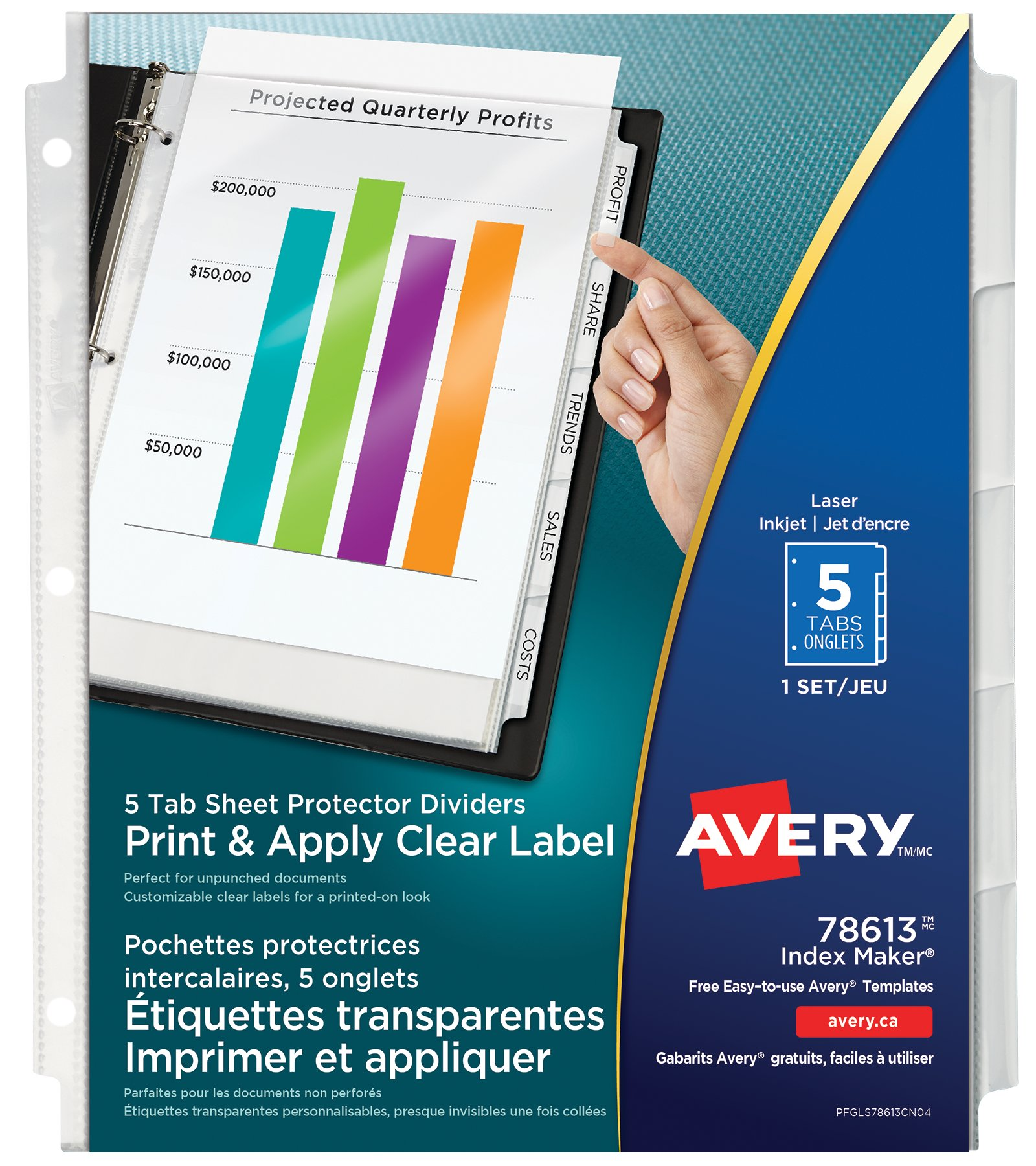 Clear pocket index maker dividers for Avery easy apply 5 tab template