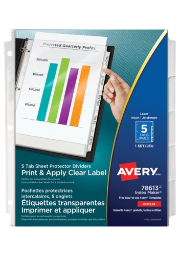 Avery® 78613 - Index Maker® Clear Label View Dividers,  8-1/2in. x 11in., Clear