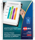 Avery<sup>&reg;</sup> Print &amp; Apply Clear Label Sheet Protector Dividers Index Maker&reg; 5 tabs 78613