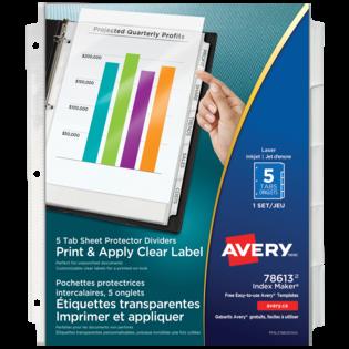 Avery® Pochettes protectrices intercalaires avec étiquettes transparentes à imprimer et appliquer