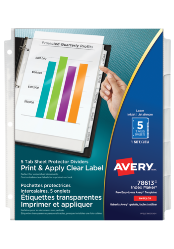 Avery<sup>&reg;</sup> Print &amp; Apply Clear Label Sheet Protector Dividers Index Maker&reg; 5 tabs - Avery<sup>&reg;</sup> Print &amp; Apply Clear Label Sheet Protector Dividers Index Maker<sup>&reg;</sup>