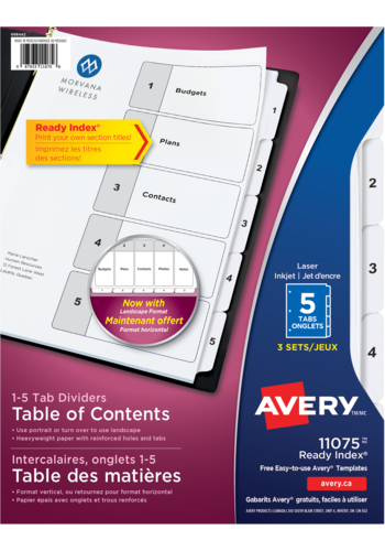 Avery<sup>&reg;</sup> Ready Index<sup>&reg;</sup> Table of Contents Dividers - Avery<sup>&reg;</sup> Ready Index<sup>&reg;</sup> Table of Contents Dividers