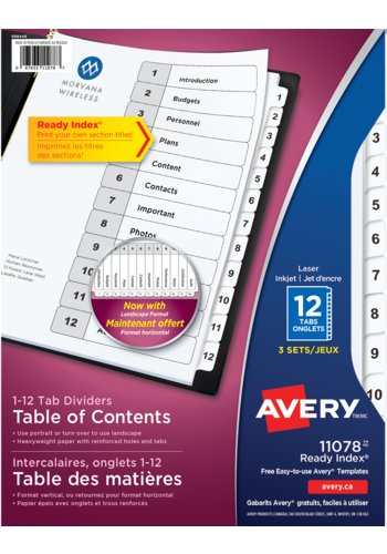 Avery® 11078 - Ready Index Intercalaires ,  8-1/2in. x 11in., Noir et Blanc