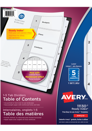 Avery<sup>&reg;</sup> Ready Index<sup>&reg;</sup> Table of Content Dividers - Avery<sup>&reg;</sup> Ready Index<sup>&reg;</sup> Table of Contents Dividers
