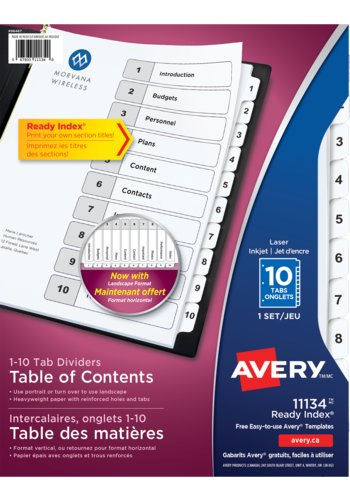Avery® 11134 - Ready Index® Table of Content Dividers ,  8-1/2in. x 11in., Black & White