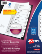 Avery<sup>®</sup> Ready Index<sup>®</sup> Table of Content Dividers 11140