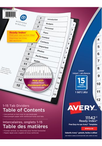 Avery® 11142 - Ready Index® Table of Content Dividers , 8-1/2\