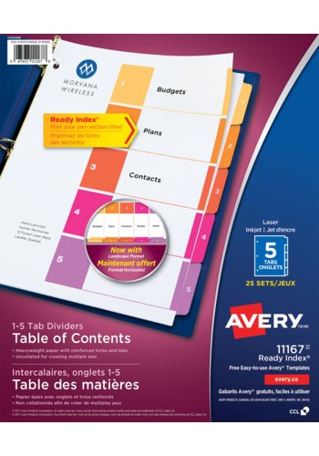 Avery® 11167 - Ready Index®Table of Content Dividers ,  8-1/2in. x 11in., Multi-colour