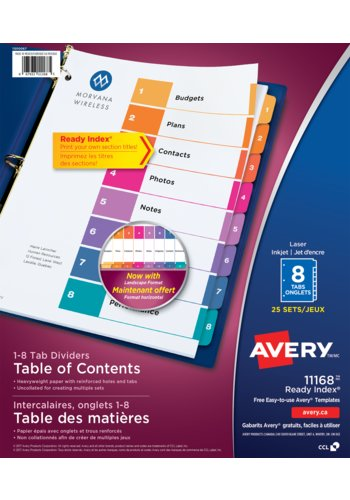 Avery® 11168 - Ready Index® Table of Content Dividers ,  8-1/2in. x 11in., Multi-colour