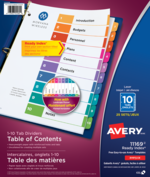 Avery<sup>&reg;</sup> Ready Index<sup>&reg;</sup> Table of Content Dividers 11169