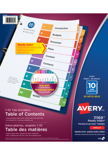Avery<sup>®</sup> Ready Index<sup>®</sup> Table of Content Dividers - Avery<sup>®</sup> Ready Index<sup>®</sup> Table of Content Dividers