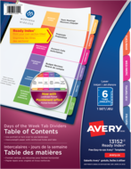 Avery<sup>&reg;</sup> Ready Index<sup>&reg;</sup> Table of Contents Dividers Mon-Sat/Sun 13152
