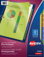 Avery<sup>&reg;</sup> Durable Preprinted Plastic Dividers 11331