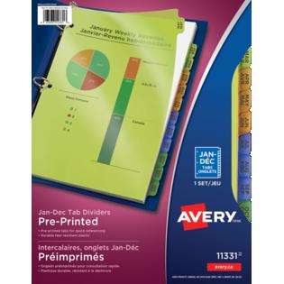 Avery® Durable Preprinted Plastic Dividers